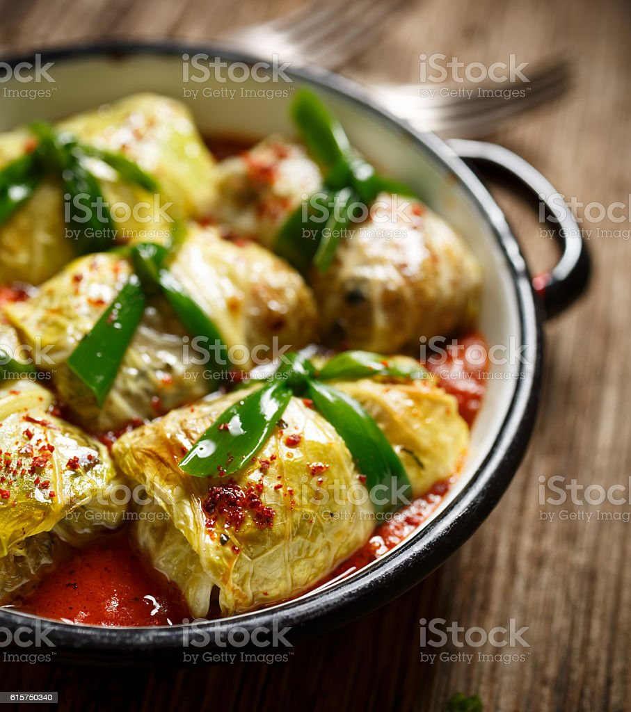 Cabbage rolls, stuffed  cabbage with rice and mushrooms stock photo