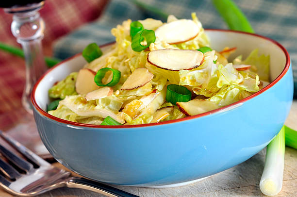 Cabbage Salad with Almonds stock photo