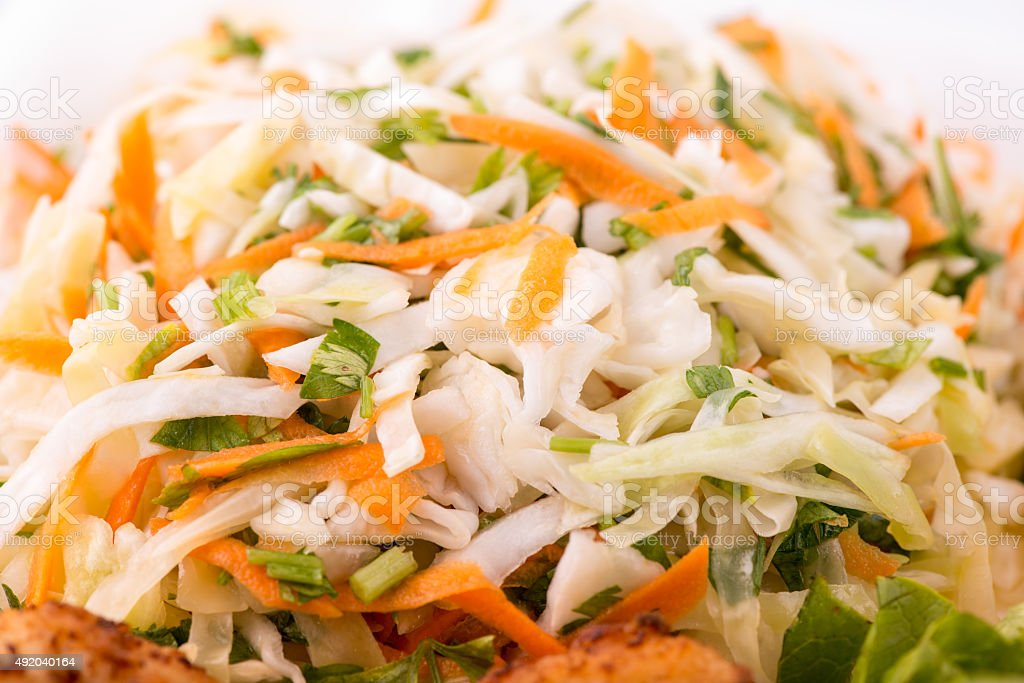 Cabbage salad with carrots stock photo