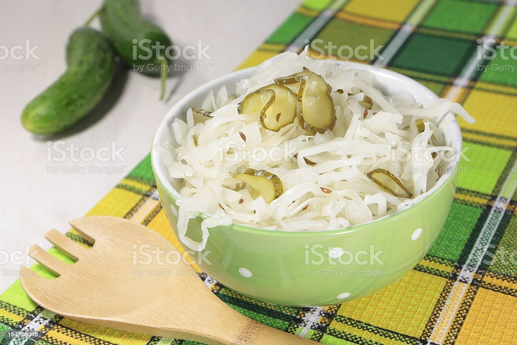 Cabbage salad with cucumbers and cumin royalty-free stock photo
