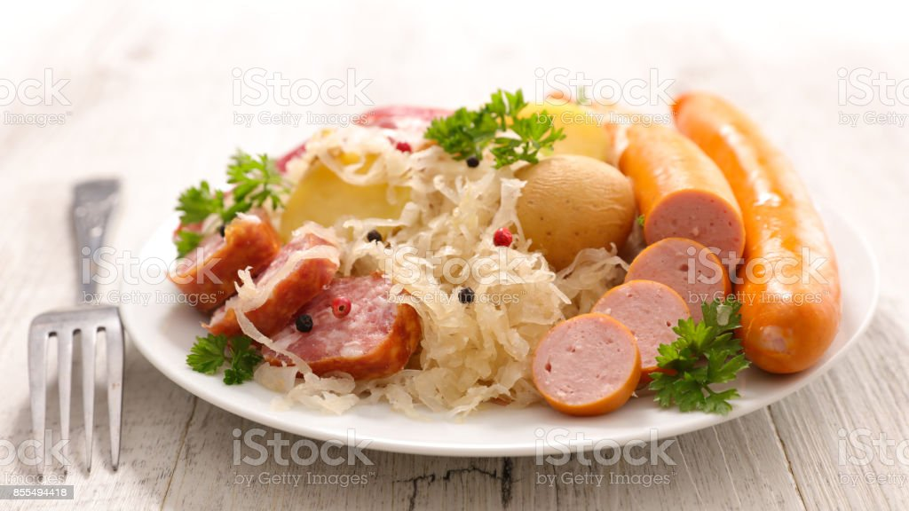 cabbage with meat and potato stock photo