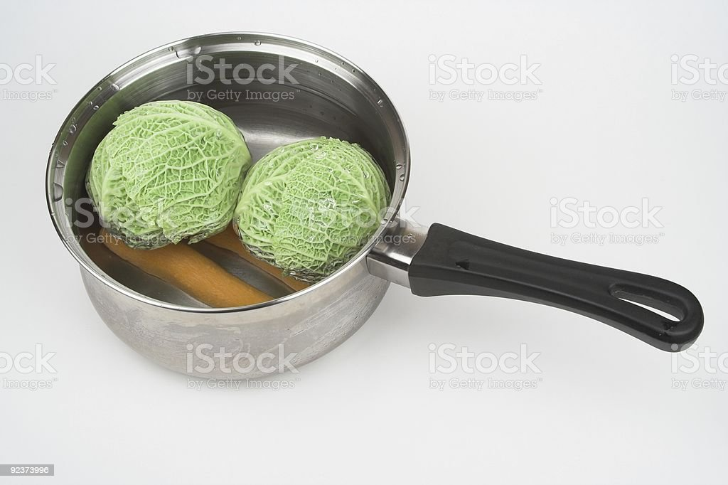 Cabbages In Saucepan royalty-free stock photo