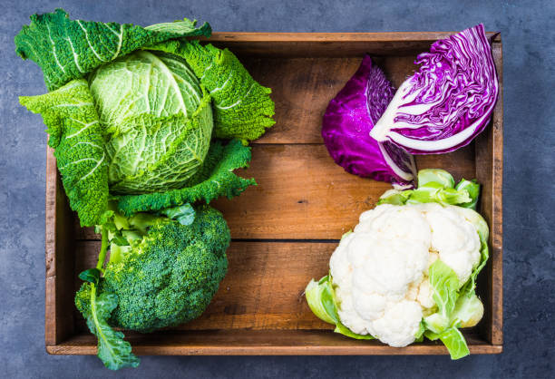 Cabbages in wooden box. stock photo