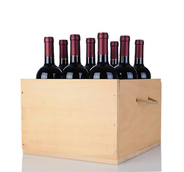 cabernet wine bottles in wood crate - wine box bildbanksfoton och bilder