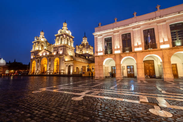 Cabildo and Cordoba Cathedral at night - Cordoba, Argentina stock photo