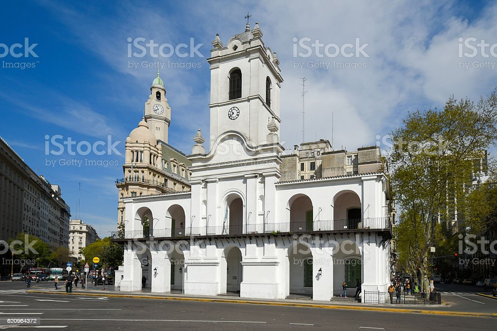 Cabildo building view from Plaza de Mayo square royalty-free stock photo