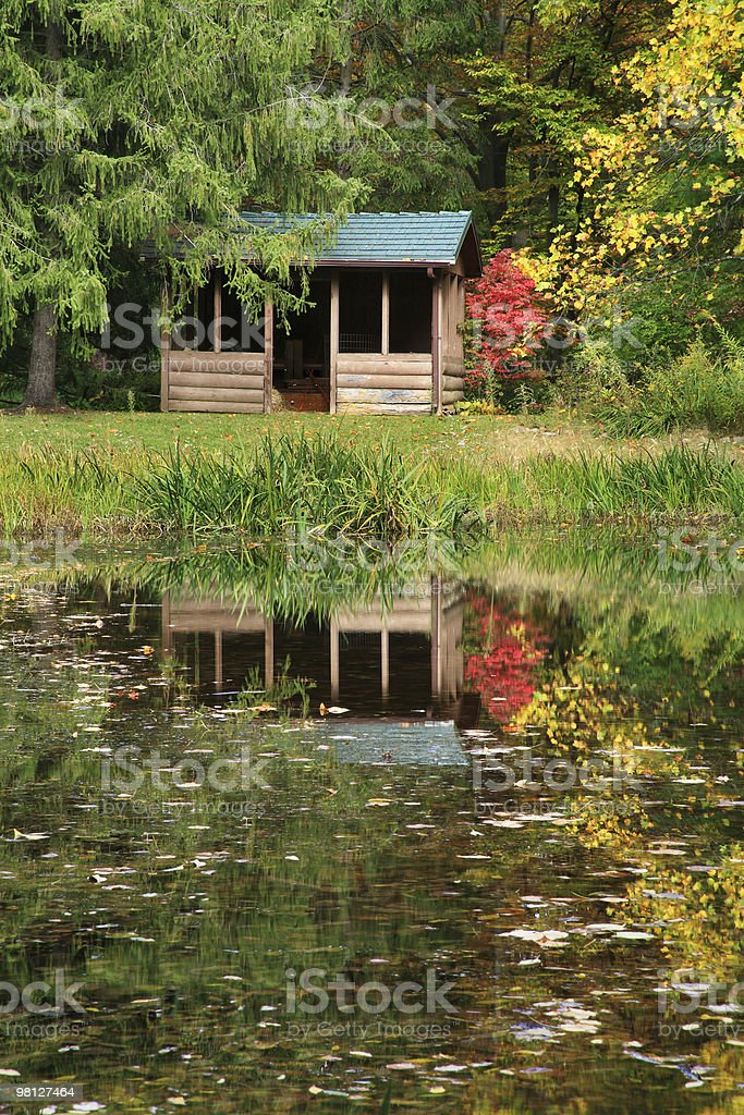 Cabin And Pond In The Woods royalty-free stock photo