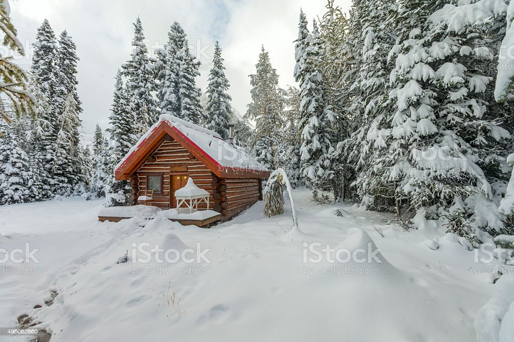 Cabin and Snow at Mount Assiniboine Provincial Park, Canada. stock photo