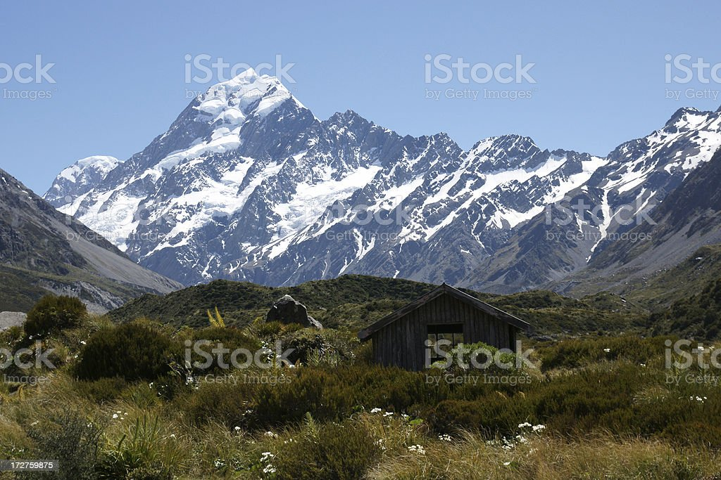 Cabin at Mount Cook stock photo