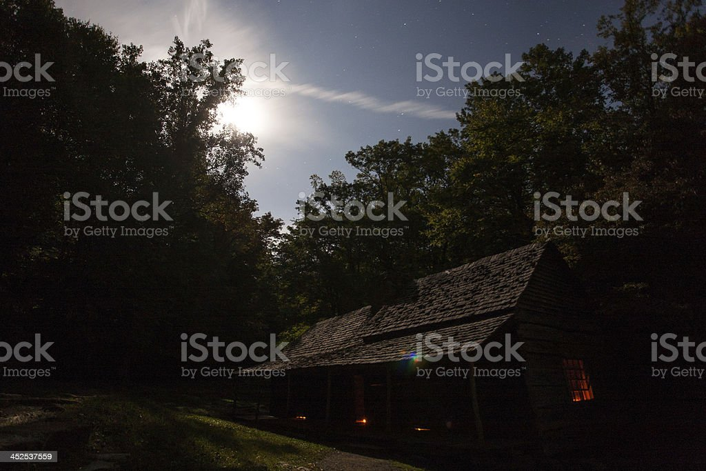 Cabin at Night stock photo