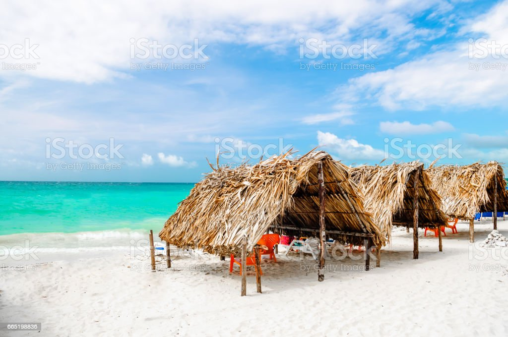 Cabin at the beach by Baru in Colombia next to Cartagena stock photo