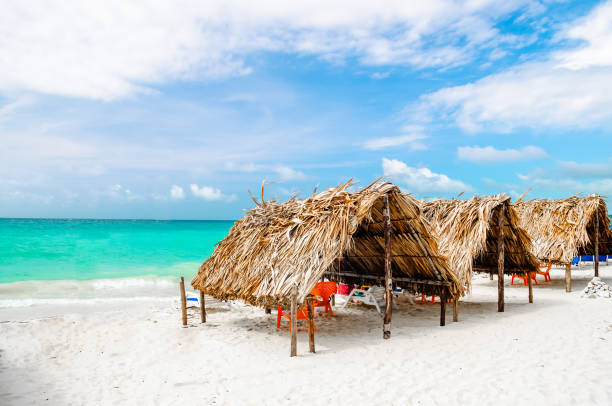 cabin at the beach by baru in colombia next to cartagena - colombia stock photos and pictures