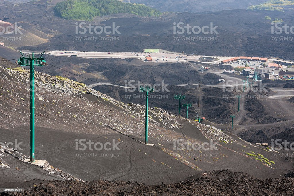 Cabin cableway on Etna volcano, Lipari, Sicily, Italy royalty-free stock photo