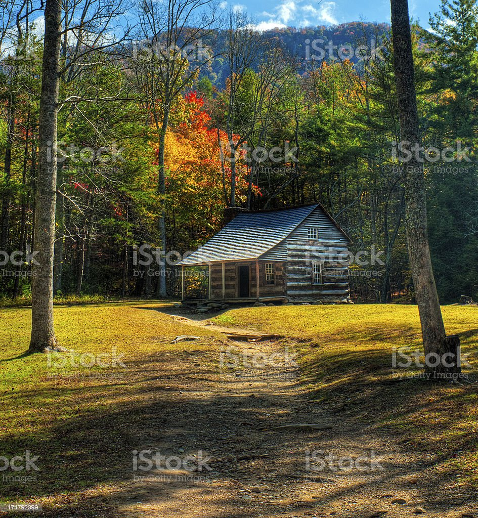 Cabin, Cades Cove, Great Smoky Mountains, Gatlinburg, Tennessee, USA stock photo