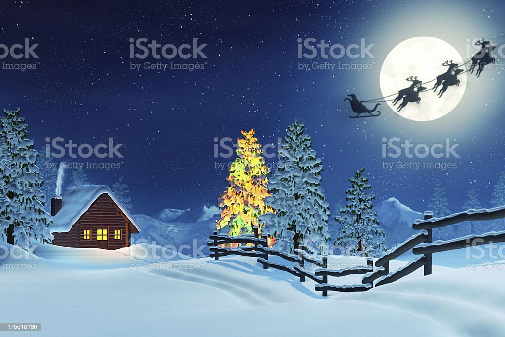 Cabin, Christmas tree and Santa in winter landscape at night royalty-free stock photo