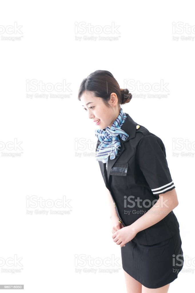 Cabin crew bowing stock photo
