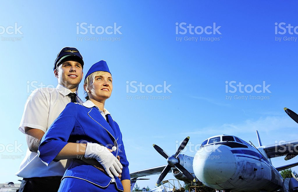 Cabin crew couple in love royalty-free stock photo