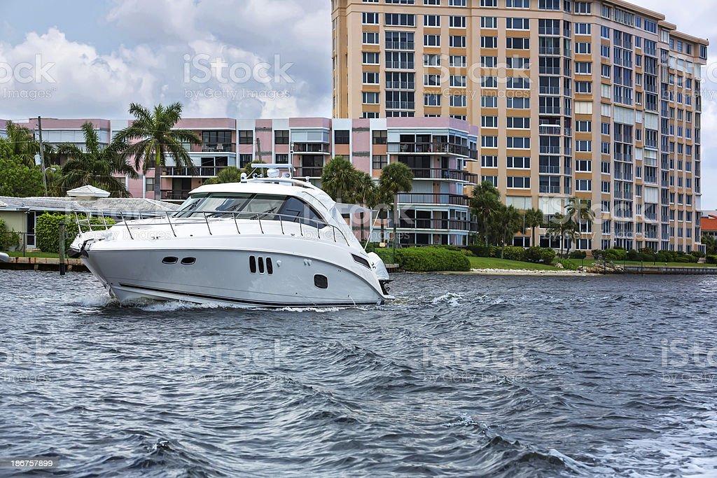 Cabin cruiser on Delray Beach, Florida stock photo