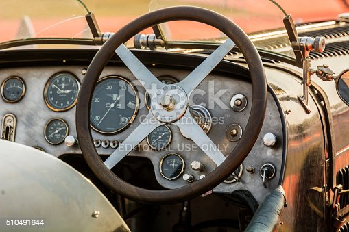 New Delhi, India - February 6, 2016: Cabin / dashboard of a retro Bugatti vintage sports car on display at the 21 Gun Salute International Vintage Car Rally 2016 at Red Fort, New Delhi.
