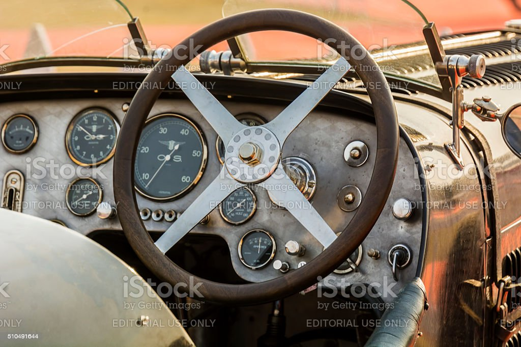 Cabin / dashboard of a retro Bugatti vintage sports car stock photo