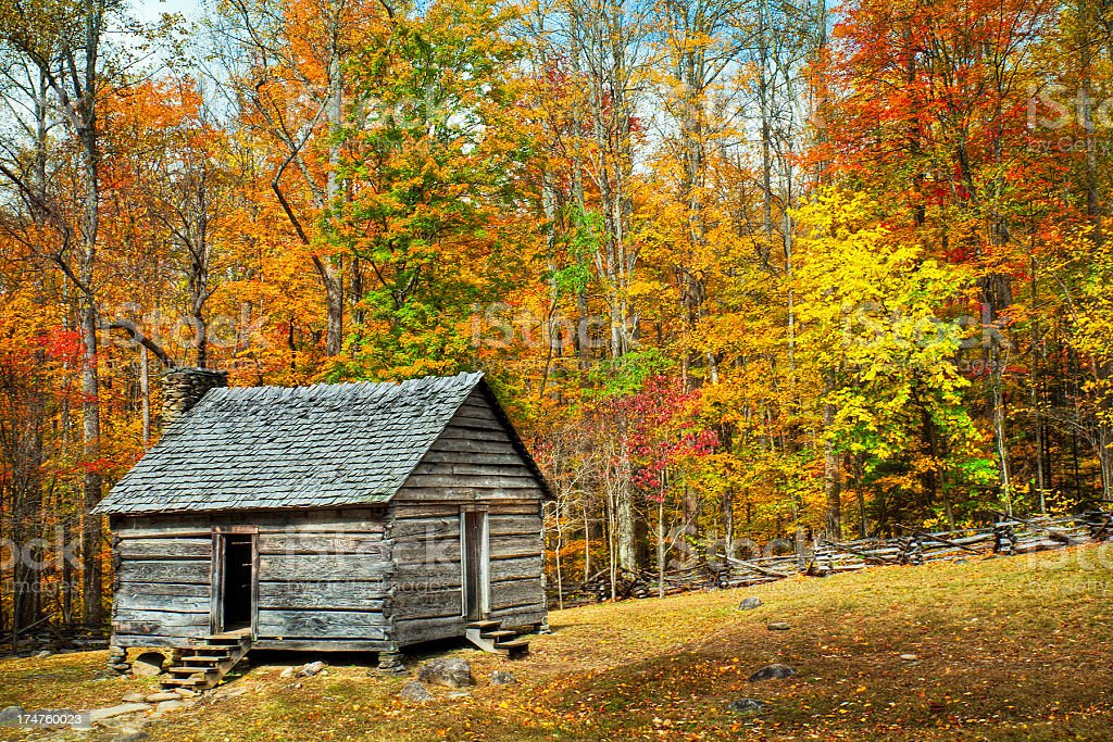 Cabin, Great Smoky Mountains, Gatlinburg, Tennessee, USA stock photo