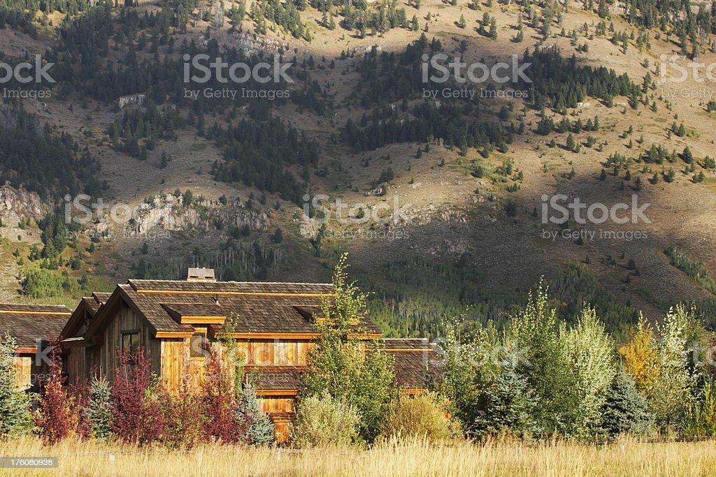 Cabin Home Architecture Wilderness Landscape stock photo