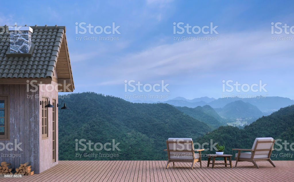 Cabin house with mountain view 3d rendering image stock photo