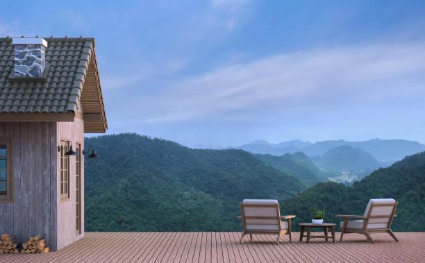 kabine-haus mit blick auf die berge 3d-bild rendern - hotel in den bergen stock-fotos und bilder