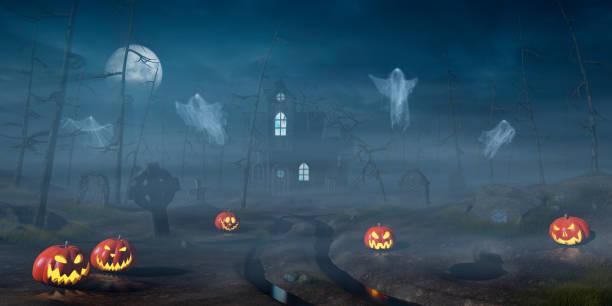 hütte im wald halloween mit kürbis laternen in der nacht - halloween grabsteine stock-fotos und bilder