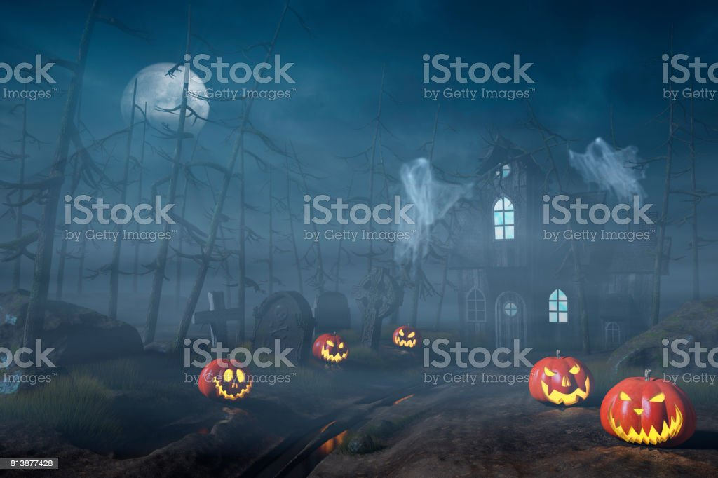 Cabin in a Halloween forest with pumpkin lanterns at night stock photo