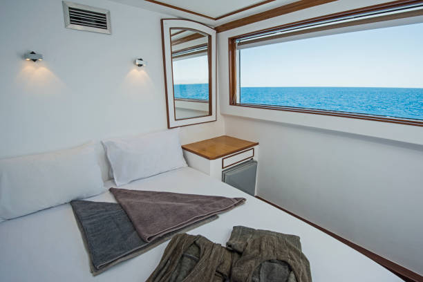 Cabin in a luxury private motor yacht stock photo