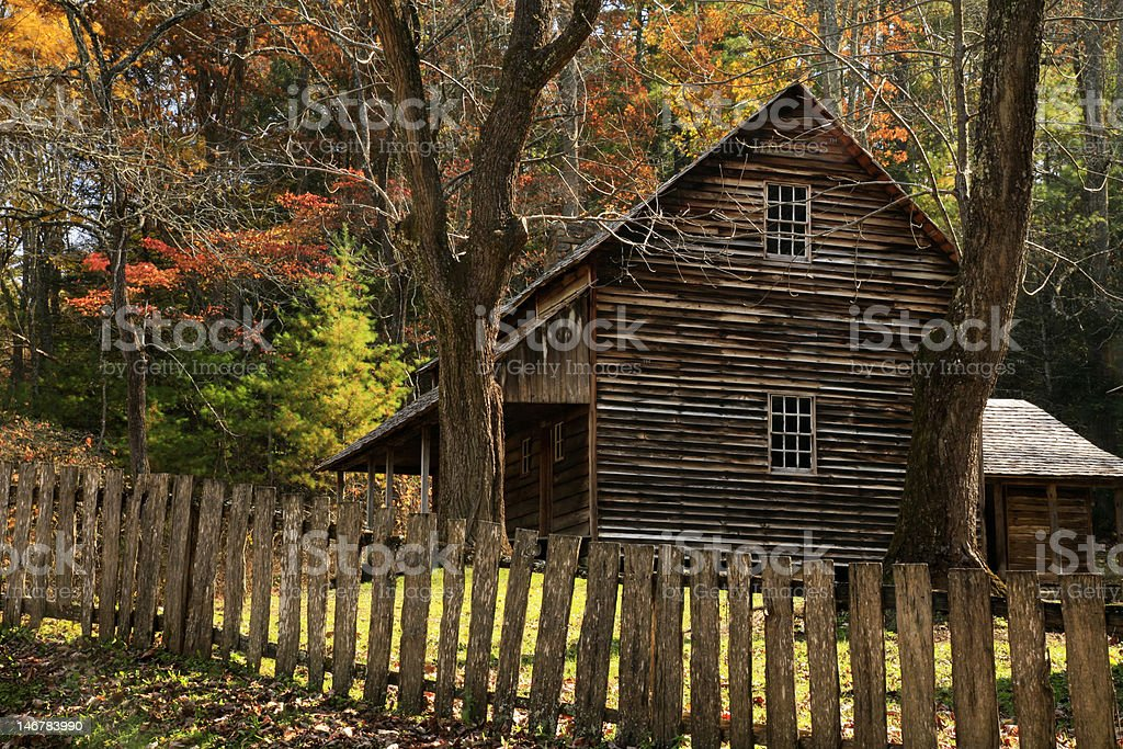 cabin in fall royalty-free stock photo