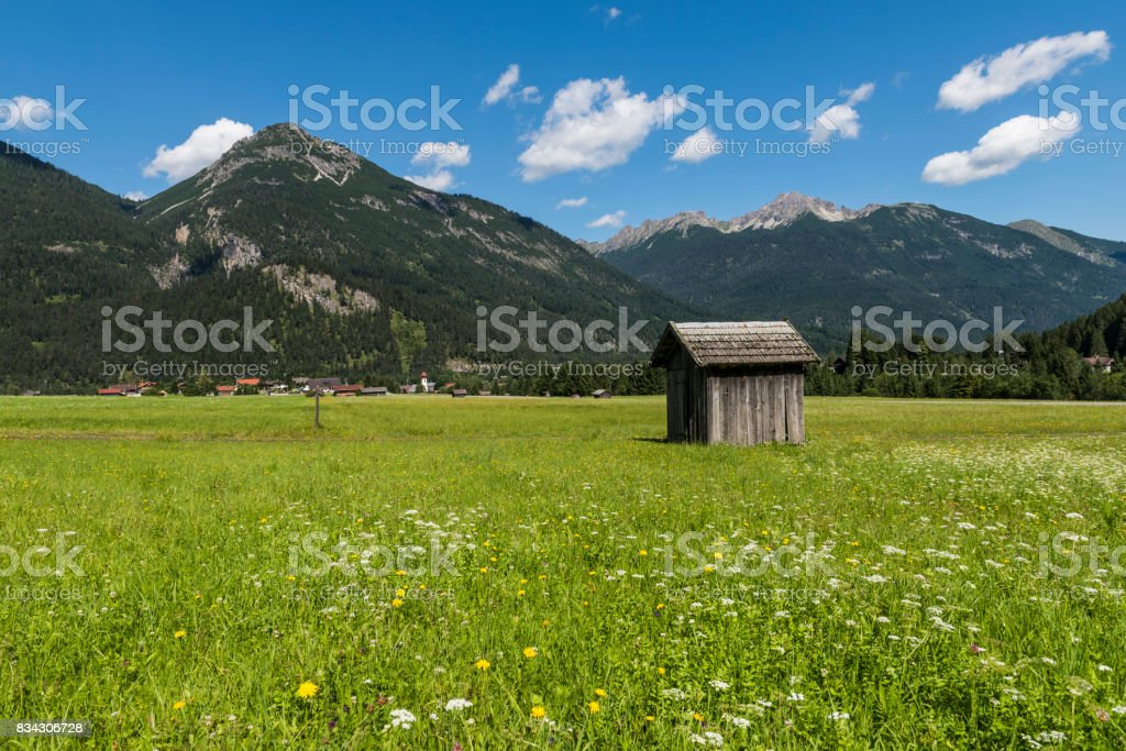 Cabin in Meadow Stanzach Austria stock photo