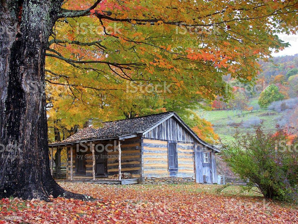 Cabin In Peak Fall Season royalty-free stock photo