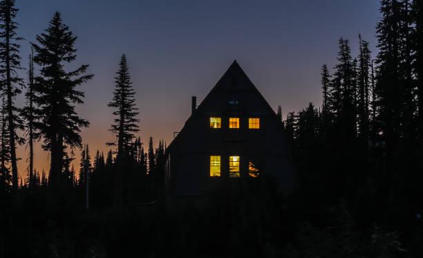 geceleri ormanda kabin - kütük ev stok fotoğraflar ve resimler