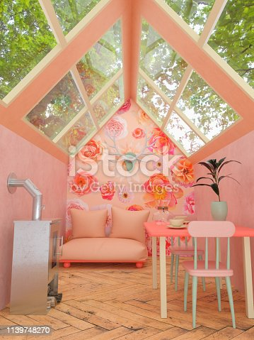 Pastel 3D rendering of an interior of a cozy cabin in the woods with glass roof, a sofa , a fireplace, table and chairs