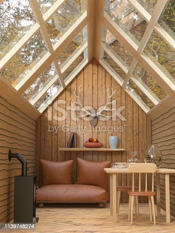 3D rendering of an interior of a cozy cabin in the woods with glass roof, a sofa , a fireplace, table and chairs
