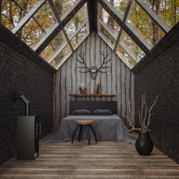 hütte im wald rendering - cottage schlafzimmer stock-fotos und bilder