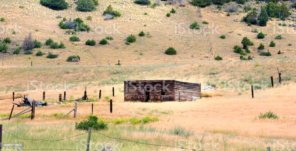 Cabin in Wyoming stock photo