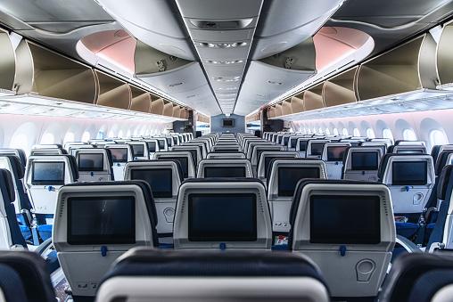 Cabin interior of a modern passenger aircraft (wide body).