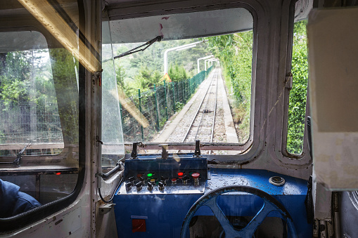 Cabin interior of funicular train at Mount of Tibidabo, Barcelona, Spain
