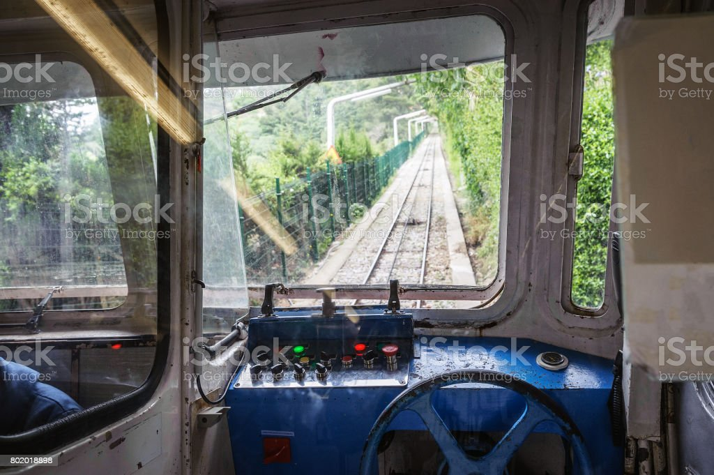 Cabin interior of funicular train at Mount of Tibidabo, Barcelona, Spain stock photo