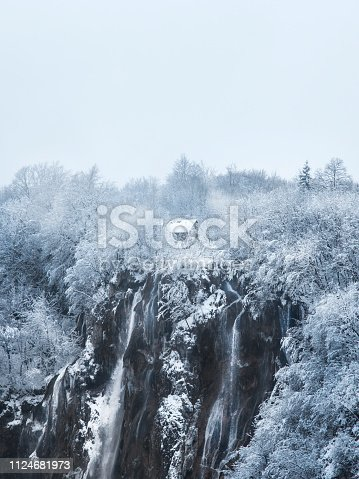 Cabin lodge house home Plitvice lakes of Croatia (Hrvatska) - national park in winter  forest trees nature postcard waterfall