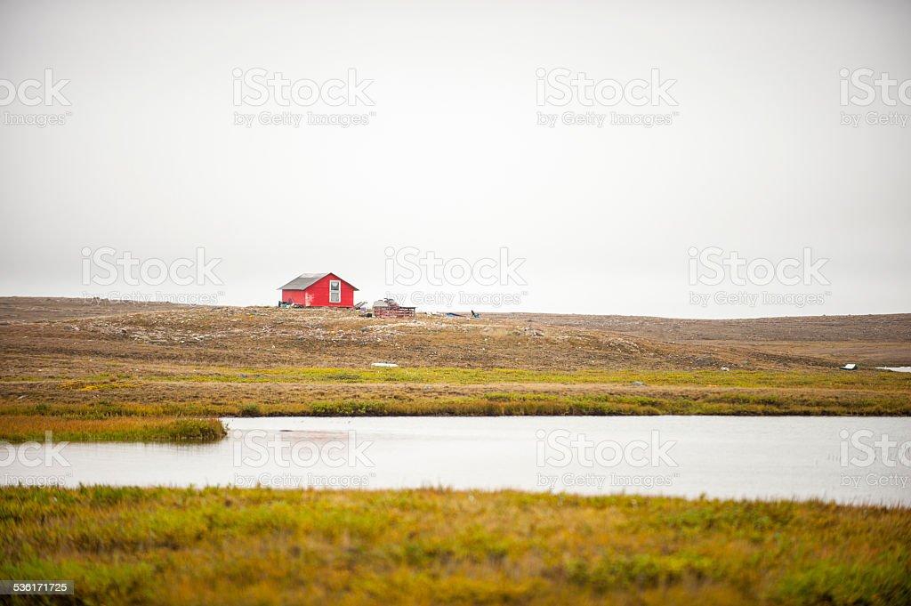 Cabin Near Cambridge Bay, Nunavut Territory, Canada. stock photo