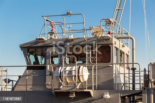 command cabin of a military auxiliary boat. outside view