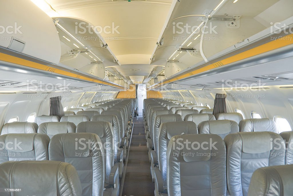 Cabin of a Passenger Aircraft stock photo