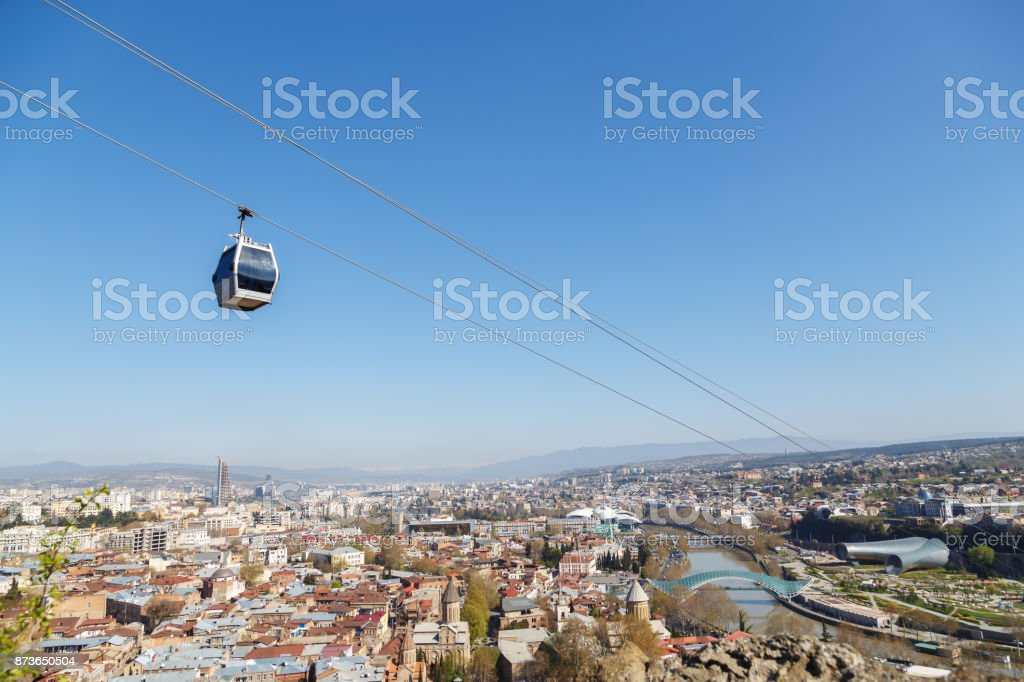 cabin of the cable car over Tbilisi stock photo