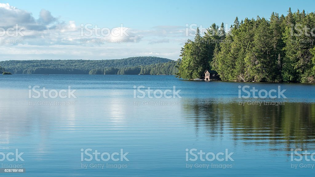 Cabin on a Lake in Algonquin Provincial Park stock photo