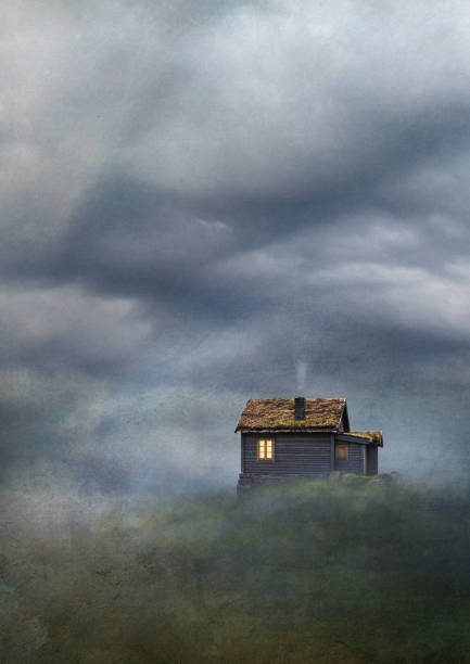Cabin on hill under cloudy sky. Old master painting style. stock photo