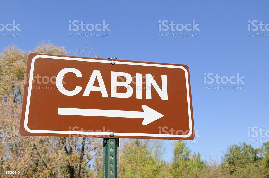 Cabin road sign stock photo